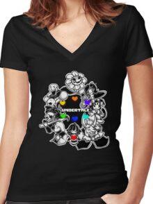 undertale sans Women's Fitted V-Neck T-Shirt