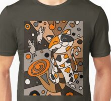 Funky Funny Calico Cat Playing Saxophone Abstract Art Unisex T-Shirt
