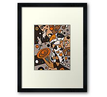 Funky Funny Calico Cat Playing Saxophone Abstract Art Framed Print