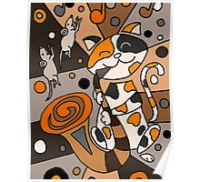 Funky Funny Calico Cat Playing Saxophone Abstract Art Poster