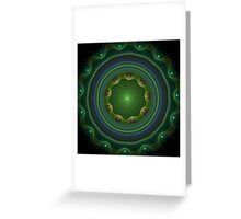 Green Disc Fractal Art Greeting Card