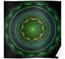 Green Disc Fractal Art Poster