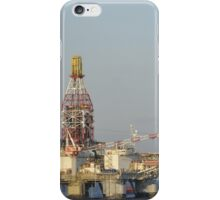 Off Shore Oil Rig with Helicopter and Boat iPhone Case/Skin