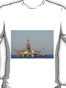 Off Shore Oil Rig with Helicopter and Boat T-Shirt
