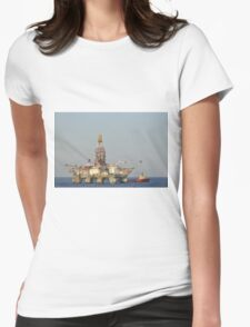 Off Shore Oil Rig with Helicopter and Boat Womens Fitted T-Shirt