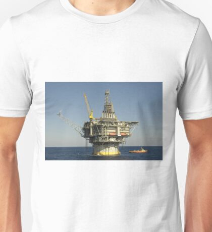 Spar type Oil Rig with Flare and Boat Unisex T-Shirt