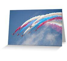 Looping Through Cloud - The Red Arrows - Farnborough 2014 Greeting Card