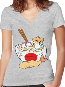 Udon Pup Women's Fitted V-Neck T-Shirt