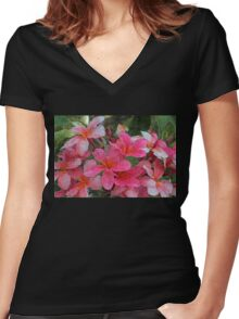 Painted Pink Plumeria Women's Fitted V-Neck T-Shirt