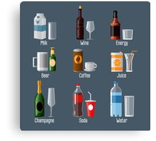 Set of Different Drinks in Ware Canvas Print