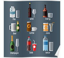 Set of Different Drinks in Ware Poster