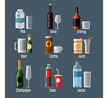 Set of Different Drinks in Ware Photographic Print