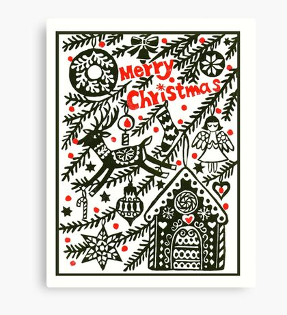 gingerbread house Christmas card Canvas Print
