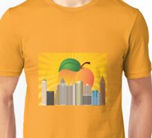 Atlanta Georgia City Skyline  with Peach Illustration Unisex T-Shirt
