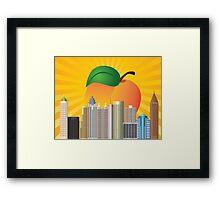 Atlanta Georgia City Skyline  with Peach Illustration Framed Print