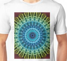 Mandala in blue,green,golden and yellow tones Unisex T-Shirt