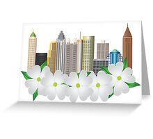 Atlanta Georgia City Skyline with Dogwood Illustration Greeting Card