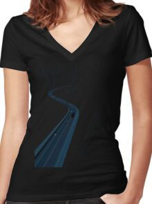 Through the Construct of Night Women's Fitted V-Neck T-Shirt