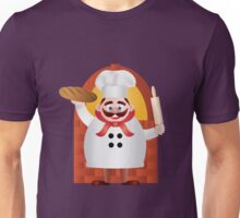 Baker with Bread and Rolling Pin Illustration Unisex T-Shirt
