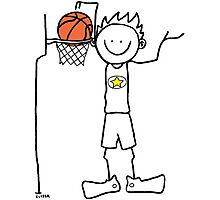 Slam dunk by a very tall basketball player - FOR LIGHT COLORED BACKGROUND Photographic Print