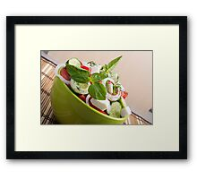 View closeup on a green bowl with a useful salad Framed Print
