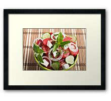 Green bowl of tasty and useful food for raw foodists Framed Print
