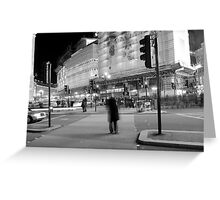 Central London in motion at night Greeting Card