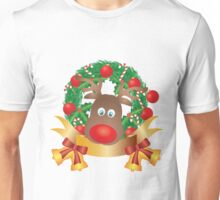 Reindeer in Christmas Wreath Illustration Unisex T-Shirt