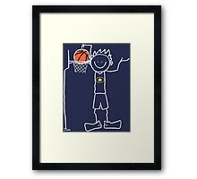 Slam dunk by a very tall basketball player - FOR DARK COLORED BACKGROUND Framed Print