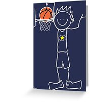 Slam dunk by a very tall basketball player - FOR DARK COLORED BACKGROUND Greeting Card