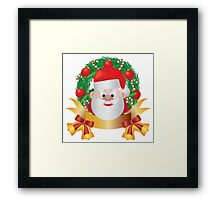 Santa Claus in Christmas Wreath Illustration Framed Print
