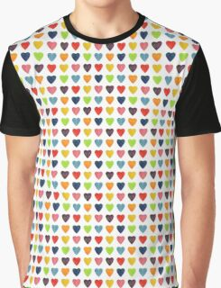 Watercolor Heart Pattern Graphic T-Shirt