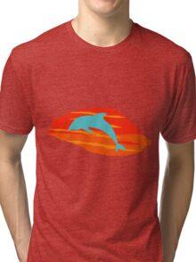 Blue Dolphin Sunset Tri-blend T-Shirt