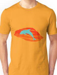 Blue Dolphin Sunset Unisex T-Shirt