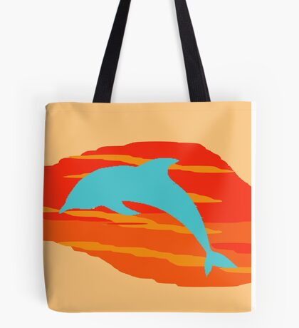 Blue Dolphin Sunset Tote Bag