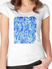 Split Leaf Philodendron – Blue Women's Fitted Scoop T-Shirt