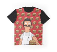 Bob Belcher Burger Pattern Red Graphic T-Shirt