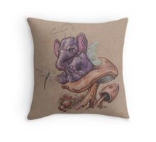 Bitty Elephant with Dragonfly (on mushroom) Throw Pillow