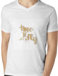 """""""time to fly"""",typography,cool,text,gold,white,trendy,fun,upbeat Mens V-Neck T-Shirt"""