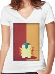 Pokemon - Cyndaquil #155 Women's Fitted V-Neck T-Shirt