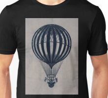 0212 ballooning Woman stands in the basket of a balloon holding flags Unisex T-Shirt