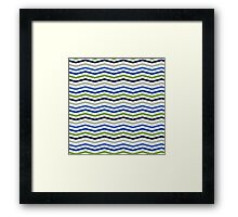 Blue and Green Sporty Chevron Pattern Framed Print