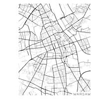 Warsaw Map, Poland - Black and White Photographic Print