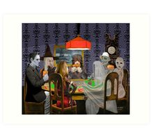 Classic Monsters Not Playing Poker - Playing Halloween Game: Halloweeja Art Print
