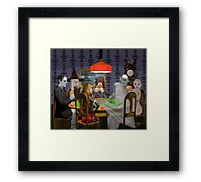 Classic Monsters Not Playing Poker - Playing Halloween Game: Halloweeja Framed Print