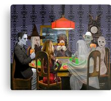 Classic Monsters Not Playing Poker - Playing Halloween Game: Halloweeja Metal Print