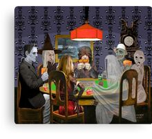 Classic Monsters Not Playing Poker - Playing Halloween Game: Halloweeja Canvas Print