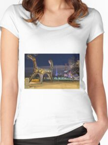 Angel Statue, Melbourne Women's Fitted Scoop T-Shirt
