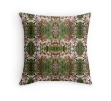 Pink & Green Blossom Pattern Throw Pillow