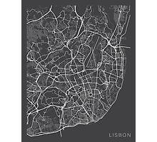 Lisbon Map, Portugal - Gray Photographic Print
